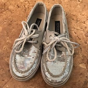 Sperrys silver sparkle sequin